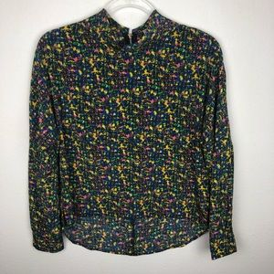 Chloe K Abstract Print Collared Blouse Size XS